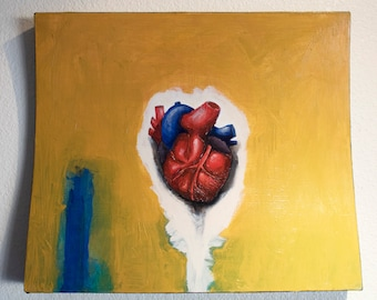 Wood sculpted art panel, heart abstract painting, wooden wall art, abstract painting on wood panel