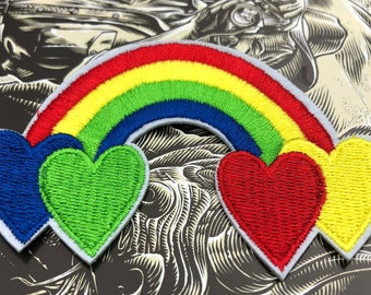 Colorful Large Rainbow with Hearts Embroidered  Iron On Patch Applique CL011618