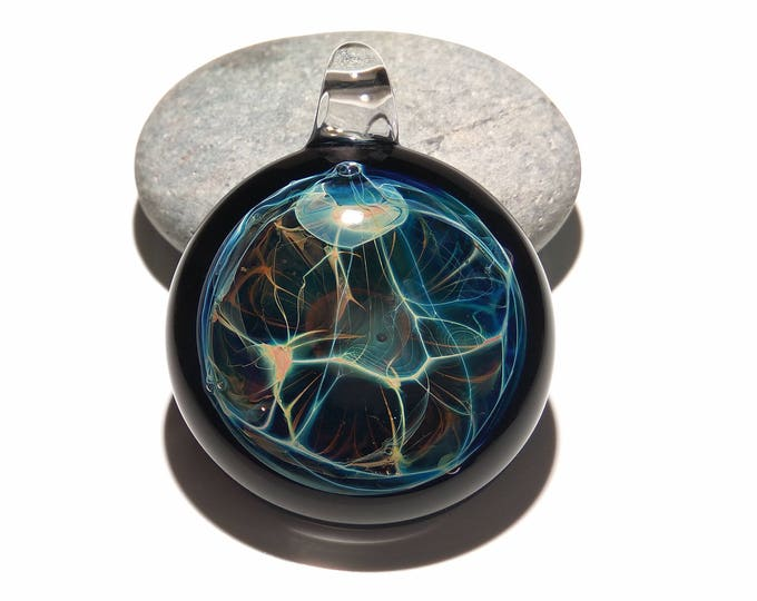 Glass Pendant - Aquatic Nova Pendant - Glass Art - Unique Bead - Blown Glass Jewelry - Boro Pendant - Universe Filament -  Pure Fine Silver