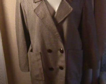 Vintage  1940 Brown Check Wool jacket,  Boxt Cut, double breasted with two large pockets.  Plus Size Large   #1149