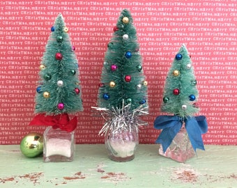 Bottle Brush Trees Repurposed Vintage Inspired Decorated Bauble Small Gift OOAK Handmade