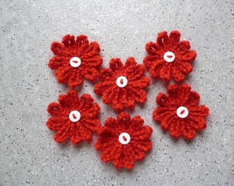 Set of 6 flowers crochet handmade red wool and buttons, scrapbooking, customisation, applied flowers