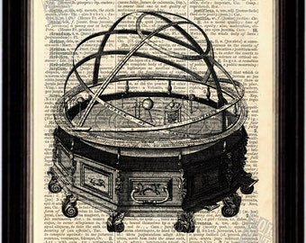 Engraving of Rowley's Orrery Print on Upcycled 1896 Latin English Dictionary Page
