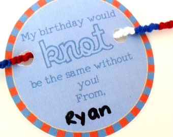 """INSTANT DOWNLOAD - Blue and Red Birthday Friendship Bracelet Party Favor Card Printable - """"My birthday would KNOT be the same without you"""""""