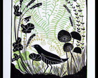 Linocut, Corncrakes Summer, bird, flowers, nature, meadow, wild flowers, blue, olive green, purple, black, layered linocut, printmaking