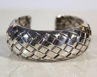 Vintage Taxco Braided Sterling Silver Bracelet