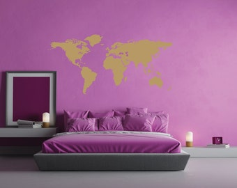 World map wall decal etsy world map wall vinyl metallic gold or silver map of the world map of gumiabroncs Choice Image