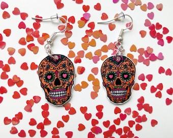 Orange skulls with hearts