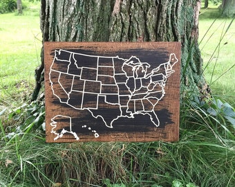 Travel Map | US Wood Map | USA Travel Map | Personalized | Pin Map | US Map with pins | United States Map | Customized | Rustic