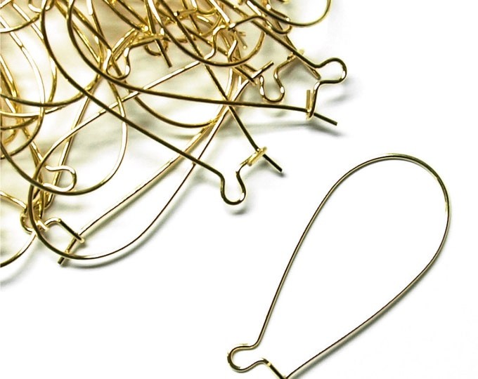 CLOSEOUT - Earwire, Kidney Large, Gold - 100 Pieces (EWBGP-KD35)