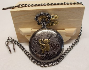 Koala Bear Pocket Watch with Classic Chain & Clip - Personalize Gift - Artisan Original Pocket Watch - Holiday Sale - Free US Shipping