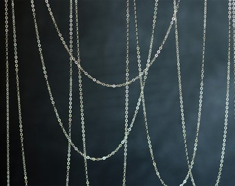 2096 Sterling silver chain 1.3mm x 2mm 925 sterling silver chain Flat silver chain 925 Italy silver chain Jewelry making silver chain 1m