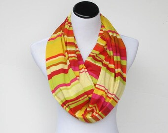 Infinity scarf multicolor bright scarf, stripes scarf, jersey knit scarf, mustard yellow orange green circle scarf, gift for woman girl