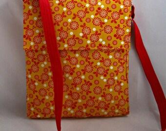 Messenger Bag, Girls and Teens Messenger Crossbody, Red Yellow Flower Messenger Bag, School Crossbody Bag, Girls Shoulder Bag - Handmade