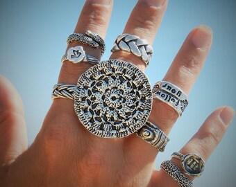 Statement Jewelry Statement RING, Statement Ring Fashion Jewelry Ring Sterling Silver Statement Ring Large Huge Giant RING Circle Round Ring