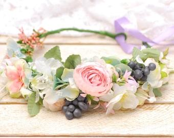 Lilac pink floral crown Wedding hair wreath Bridal floral crown Wedding Flower girl Flower hair wreath Bridal flower crown Flower headband