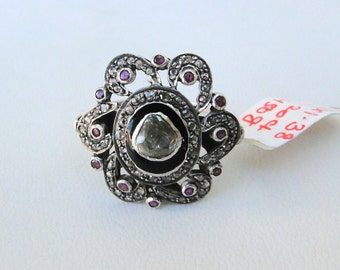 Victorian Diamond Polki Ruby 14 K Gold Silver Finger Ring India