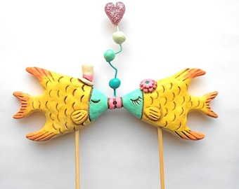 Tropical Kissing Fish wedding cake topper for your beach wedding As seen in Modern Wedding DIY magazine