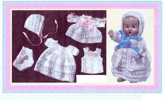 Vintage Doll Clothes to fit 9 inch baby dolls layette set instant ...