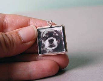 Square Photo Necklace or Photo Pendant in Sterling Silver, Square Photo Pendant, Custom Photo Jewelry, Photo Jewellery, Picture Jewelry