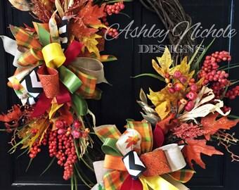 Corn Husk Fall Wreath, Door Decoration,  Fall Wreath