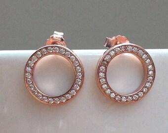 Rose gold Sparkling hoop stud earrings