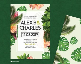 Palm Leaves Wedding Invitation, Tropical Wedding Set, Exotic Wedding Invite, Beach Wedding Invitation, Destination Wedding Invitation