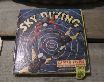 Sky Diving Super 8 Projector Reel Black and White Vintage Castle Films Movie Reel Free USA Shipping and Tracking Included in the Price