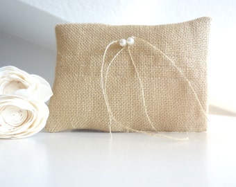 Burlap ring cushion, Ring pillow, ring cushion, natural burlap bridal pillow for ring bearer with pearls decoration
