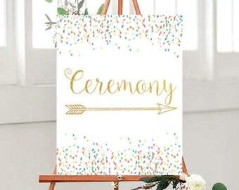 Printable Ceremony Sign, Wedding sign, Wedding Signage, Wedding Printables, Confetti Sign, Instant Download, Wedding Decor