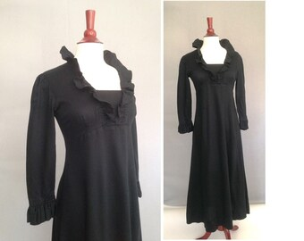 Jane Austen style / early 1970s Vintage Black Maxi Dress / Halloween, Goth, Steam Punk Dress / 1800s Empire Dress / LBD for Halloween