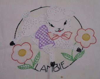 Vintage Embroidered Baby Lamb Pillowcase