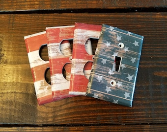 American Flag Light Switch And Outlet Covers | Americana - Set Of 4 - Patriotic - Wood Grained - USA - Stars And Stripes - Home Decor - Art