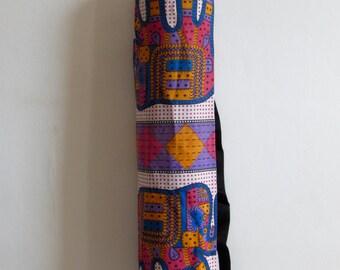 Yoga Mat Bag Pilates Mat Bag Cotton Block Print Multi Colour Elephant Design (8) Bespoke Free UK Delivery Free Gift Choice