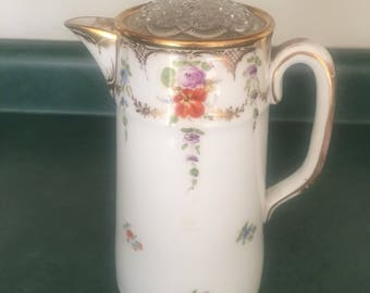 Vintage Gold and Floral China Tea / Coffee Pot