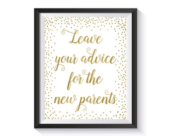 Advice For The New Parents  Printable Sign, Gold confetti Baby Shower Advice Sign, Leave Advice, Baby Shower décor, Advice for Parents-To-Be