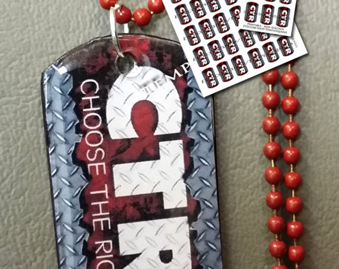 PRINTABLES  CTR Choose The Right mini Dog Tags - Diamond Plate Style.  for Seminary, Primary, Relief Society, Birthday Gifts