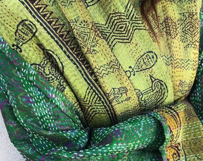 Green silk reversible plus size kantha kimono