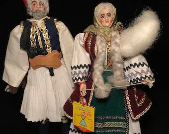 c.1990 Greek Folk Art DOLL FIGURES Set Of 2/Handmade