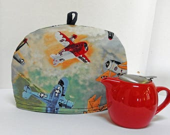 Old Air Planes - Small Dome Tea Cozy for Small Tea Pot or Cup