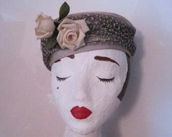Gray and Taupe Pillbox Hat With Off-White Roses and Netting Vintage