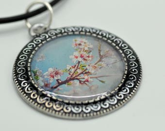 Cherry Blossoms, Pendant, Resin Pendant, Blue, Pink, White, For Her