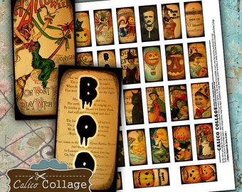 Vintage Halloween Digital Collage Sheet for Domino Pendants, Resin Jewelry, Bezel Settings - 1x2 Domino Images, Decoupage Paper, Jewelry Art