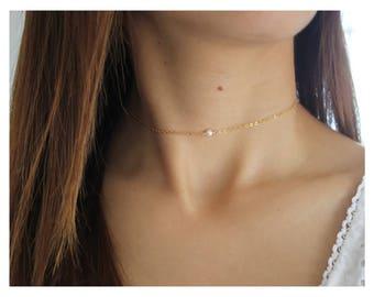 gold choker • dainty gold choker • minimalist choker • gold pearl choker • delicate gold layered • 14K gold chain choker • B144