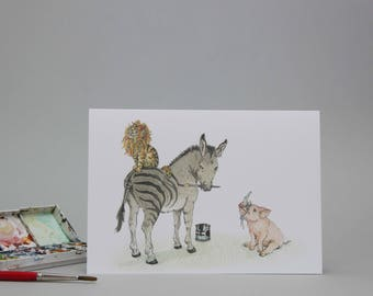 Hand Draw Card: Dressing Up Animals, Cat, Donkey, Pig or is it a Lion, Zebra and Rhino?! Greeting Card