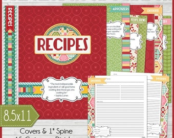 RECIPE BINDER Kit Printables (RED), Recipe Book, Recipe Printables, Recipe Kit, Full Size, 8.5x11 - Printable Instant Download