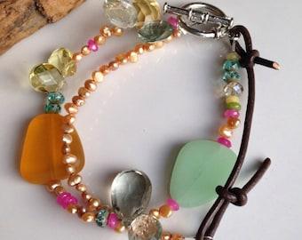 Etsy, Etsy Jewelry, Beaded Bracelet, Freshwater Pearls, Sea Glass, Quartz, Orange, Yellow, Green Amethyst, Pink, Blue, Leather, Doubled
