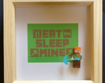 Lego inspired Minecraft minifigure framed art