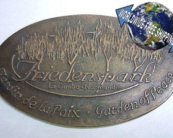 Albert Schweitzer Bronze Plaque Medal Garden of Peace Normandie Friedenspark Art