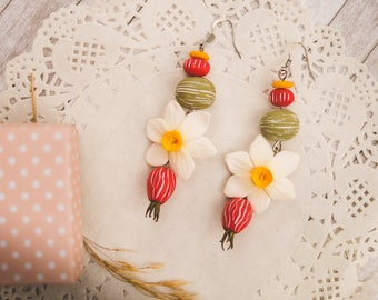 Nature earrings Daffodil narcissus earrings Flower earrings Narcissus Floral dangle earrings Floral style Miniature polymer clay flowers